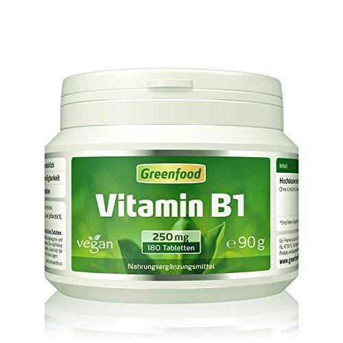 Greenfood Vitamin B1, 250 mg, hochdosiert, 180 Tabletten – für starke Nerven und hohe Konzentrationsfähigkeit. OHNE künstliche Zusätze. Ohne Gentechnik. Vegan.