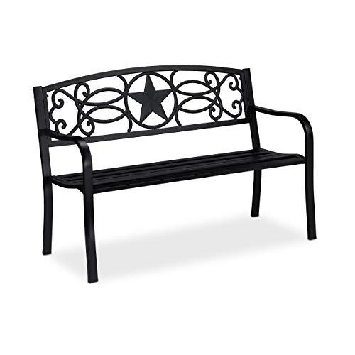 Relaxdays Gartenbank, Stern-Motiv, 2-Sitzer, Rostschutz-Beschichtung, Stahl Sitzbank HxBxT: 87 x 127 x 55 cm, schwarz
