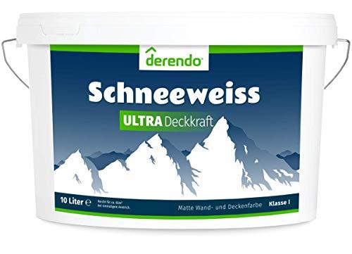 Derendo Schneeweiss Ultra - höchste Deckkraft und Weißgrad - 10l Wandfarbe weiß, matt - Unsere Beste
