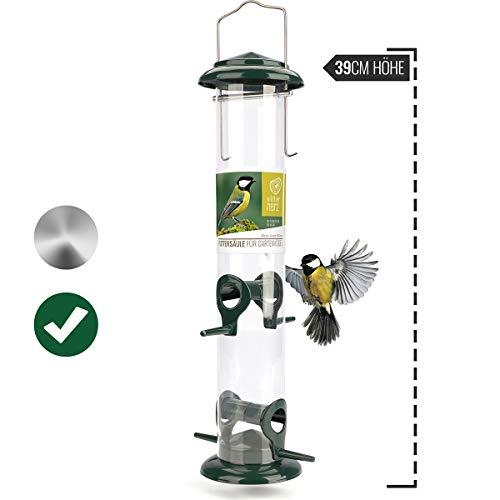 wildtier herz | Körner-Futterspender 39cm - für Vögel mit Edelstahl Anflugsplätzen, Futtersäule für Vogelfutter, Futterstation für die ganzjährige Fütterung von Wildvögel (Grün)