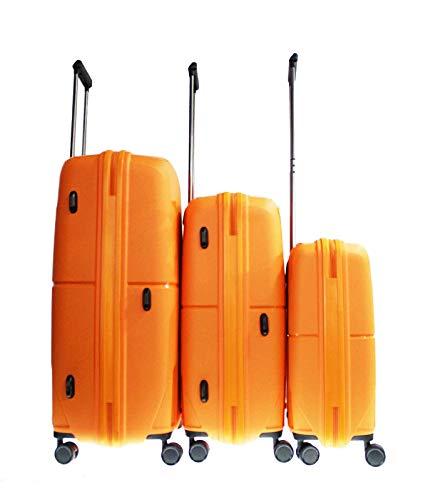 Alexander - Valigia da viaggio in polipropilene da 20', struttura leggera e impermeabile, con serratura e manico telescopico, 8 ruote, arancione, SET3,