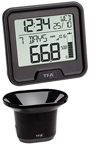 TFA 47.3005.01 Funk-Regenmesser Drop Niederschlagsmesser (schwarz mit Batterien)