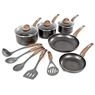 Tower Induction Frying Pan and Saucepan Set, Includes 5 Cooking Tools, Non Stick, Graphite/Brown, 5 ...