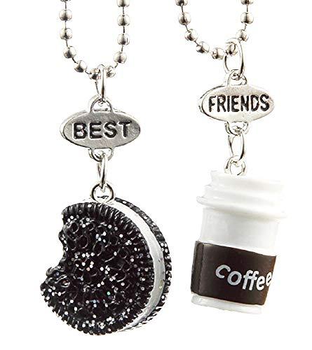 Twee meisjeskettingen - vriendschap - kawaii x 2 - beste vrienden voor 2 - koppel - bff - koekje - koffie - drankje - eten - veelkleurig - origineel cadeau-idee