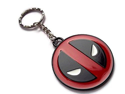 Halo Zubehör schwarz & Rotes Deadpool Maske Comic Kreis Schlüsselanhänger