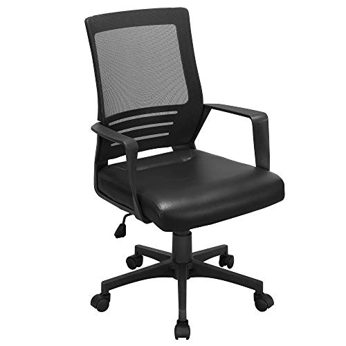 YAHEETECH Ergonomic Mesh Office Chair with Leather Seat, Adjustable Desk Chair, Swivel Chair with Lumbar Support for Home, Workplace Black