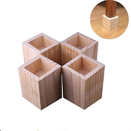 Elevadores de cama, elevadores de muebles, madera,altura de elevación 5 cm,Diámetro interno de la ranura 5 × 5 cm,juego de 4