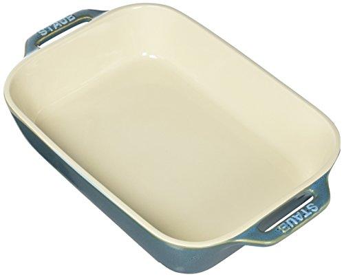 STAUB Ceramics Rectangular Baking Dish, 10.5x7.5-inch, Rustic Turquoise