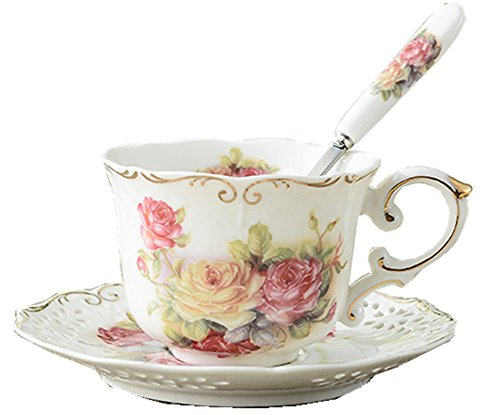 Moyishi Royal Red Rose Chintz Porcelain Footed Mug Assorted with Gold Trim 1 Pc Christmas Birthday Best Gift