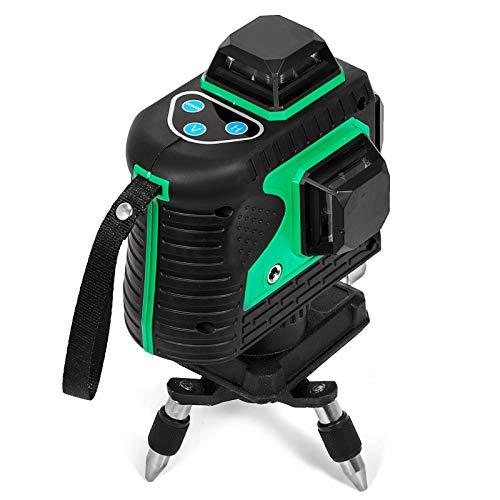 Guellin 3D & 12 Líneas Nivel Láser Verde 360 °Rayo Autonivelación Medición...