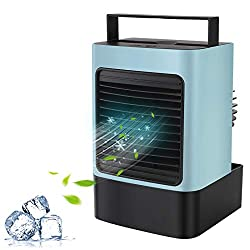 MOVTIP Portable Air Conditioner Fan, Personal Space Air Cooler Mini Evaporative Cooler Quiet Desk Fan, Air Circulator Humidifier Misting Fan for Home Office Bedroom (Blue)