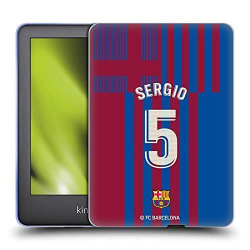 Head Case Designs Licenciado Oficialmente FC Barcelona Sergio Busquets 2021/22 Jugadores Inicio Kit Grupo 2 Carcasa de Gel de Silicona Compatible con Amazon Kindle 10th Gen (2019)