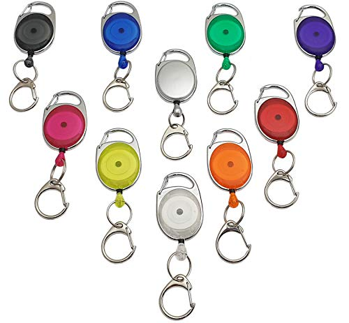1 Stück Ovaler Jojo-Halter / Rollmatik / Schlüsselanhänger / Schlüsselhalter / Schlüsselrolle mit Befestigungsbügel und Federclip in verschiedenen Farben (Vollfarbig Silber)