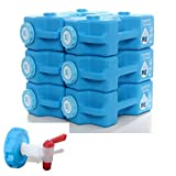 AquaBrick 緊急用水ストレージコンテナ ベントレススピゴットキャップ付き ポータブル 積み重ね可能な水ストレージコンテナ 3ガロン 長期食品ストレージコンテナ 20ポンド アウトドア飲料ディスペンサー 6連パック+スピゴット