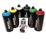 Montana Black Sprühdosen Set – 6 Dosen Grundfarben Schwarz Weiß Blau Grün Rot Gelb + Ersatzsprühköpfe - 6 x 400ml Spraydosen Cans Spray Graffiti