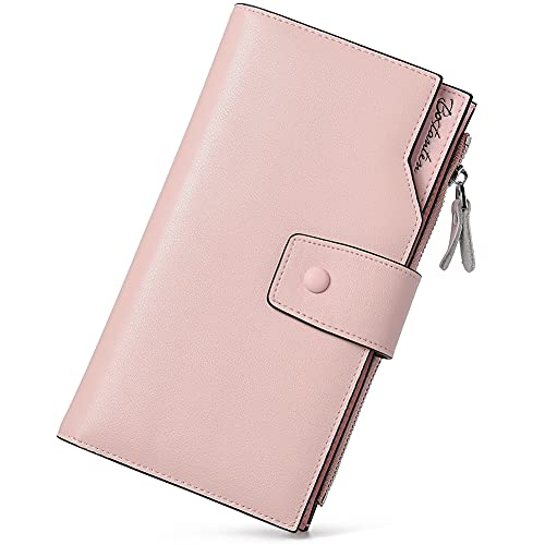 BOSTANTEN Cartera para mujer de cuero genuino carteras de gran capacidad en efectivo con bolsillo con cremallera, 0-pink, Large (L)7.4' x (W)1.3' x (H)3.9' inch,