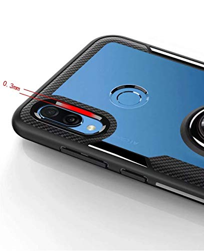 FANFO Huawei Honor Play Hülle, Rugged TPU/Transparent PC Transparent Hybrid Armor Fall und 360°Drehständer 3 in 1. schwarz - 5