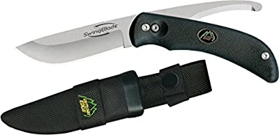 Outdoor Edge SwingBlade - Two Blades in One, Rotating Fixed Blade Hunting Knife with Drop-Point and Gutting Blade - Includes Nylon Sheath (Black)