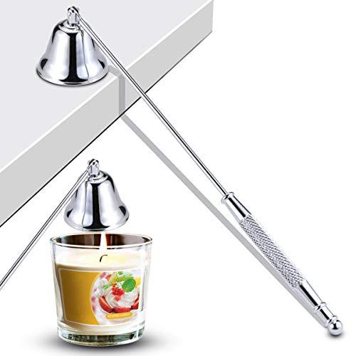 Newbished - Tapón de vela de metal chapado en plata con mango largo para extinguir las mechas de la vela