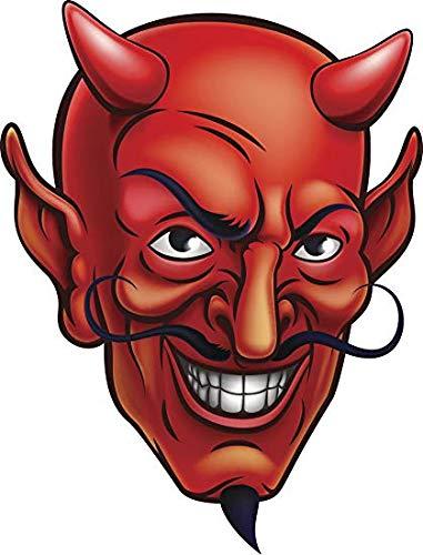 EW Designs Red Evil Devil Head Cartoon Vinyl Decal Bumper Sticker (4' Tall)