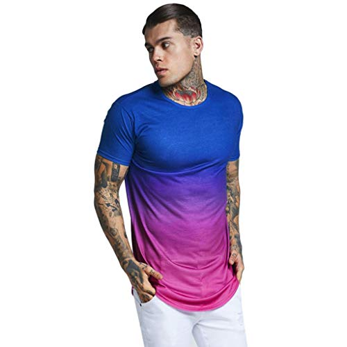 Männer Sommer Casual Patchwork O Hals Pullover Kurzarm T-Shirt Top Bluse Zolimx