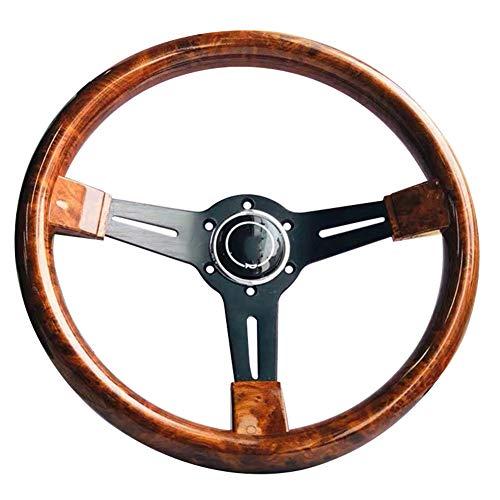Hpory 14 Zoll Holzlenkrad Auto, Retro Sportlenkrad mit Horn Universal Rennwagen Lenkrad für Auto Modifiziertes Lenkrad Pfirsichholz Holzmaserung, 350mm Wood Steering Wheel Autozubehör