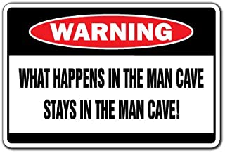 WHAT HAPPENS IN THE MAN CAVE Warning Sign room mans dad guys darts cigars