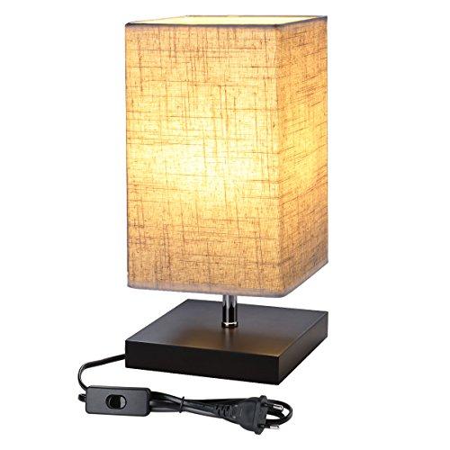 Lepro Designer-Nachttischlampe, E27, mit Holzsockel, quadratisch, Lampenschirm aus Stoff, Nachttischlampe, rechteckig, schönes Licht, für Schlafzimmer, Wohnzimmer, Hotel, Café