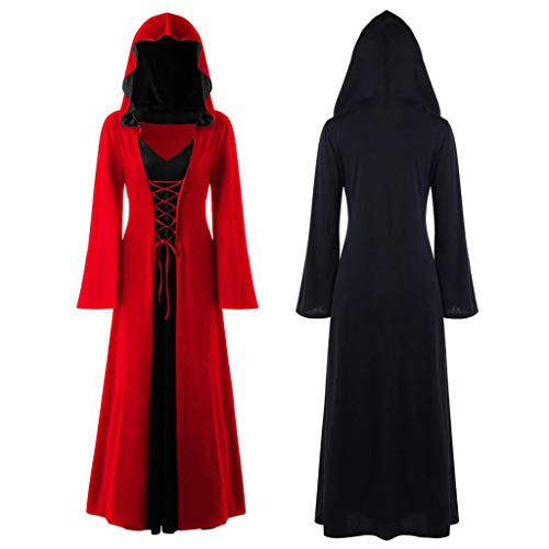 LOPILY Umhang Kleid mit Kapuze Lange Cape Vampir Kostüm Halloween Erwachsener Damen Cosplay Umhang Prop für Halloween Masquerade Mittelalter Bekleidung Kanerval Kostüme (Rot, 34)