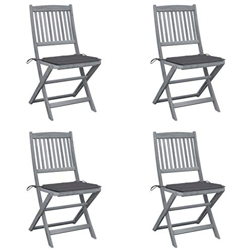 vidaXL 4X Akazienholz Massiv Gartenstuhl Klappbar mit Kissen ohne Armlehnen Klappstuhl Essstuhl Holzstuhl Stuhl Stühle Gartenstühle Holzstühle