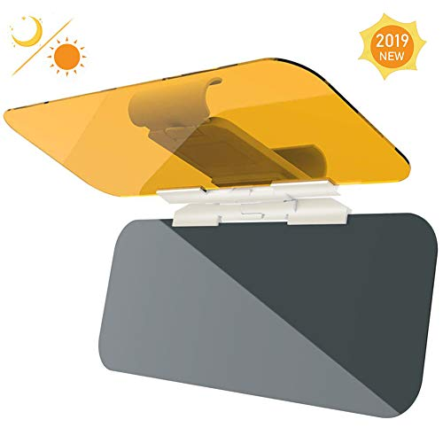 ASANMU Car Sun Visor Extender Sun Blocker, Universal Automobile Windshield Visor 2 in 1 HD Anti-Glare Car Sun Protection Visor for Day/Night Driving