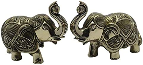 Brass Craft Brass Idol Murti Elephant Set of 2 for Hall Restaurant Galleria Living Room Office Indoor Outdoor Feng Unique ...
