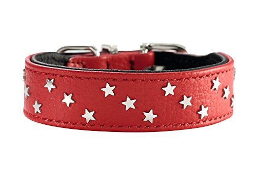 HUNTER CAPRI MINI STARS Hundehalsband, Leder, Nappa, mit Sternen, weich, 42 (S-M), rot