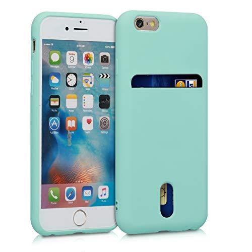 kwmobile Funda para Apple iPhone 6 / 6S - Carcasa de móvil de Silicona con Tarjetero y Acabado de Goma - Menta