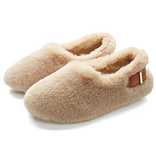 Homeen babuchas Invitados Invierno,Zapatos al Aire Libre Peludos de Invierno para niñas,Zapatos mullidos cálidos de Moda para Mujeres,Pantuflas Cerradas para Damas,cómodas Pantuflas de Mula-Ca