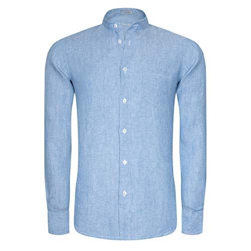 Signum Herrenhemd - Smart Summer Stehkragenhemd aus Leinen - Größe S