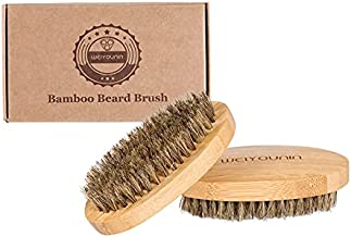 WEIYOUNIN Natural Boar Bristle Brush for Men,Bamboo Travel Pocket Beard Brush,Medium Firm Bristles for Medium to Coarse Hair,Use for Smoothing,Styling,Wave Styles,Soft on Scalp,2 PCS set(4.4 Inches)