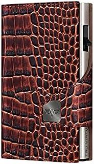 TRU VIRTU® Tarjetero Click & Slide Croco Marrón/Plata I Estuche para Tarjetas de crédito I Tarjetero con protección RFID-N...