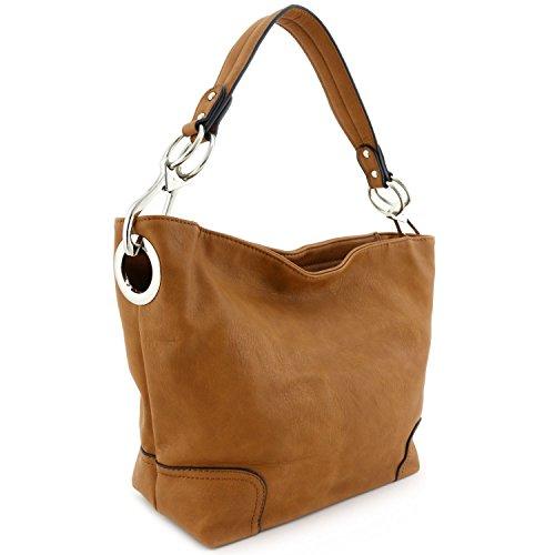 Women's Hobo Shoulder Bag with Big Snap Hook Hardware (Camel)