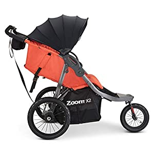 Joovy Zoom X2 Double Jogging Stroller, Double Stroller, Extra Large Air Filled Tires, Paprika