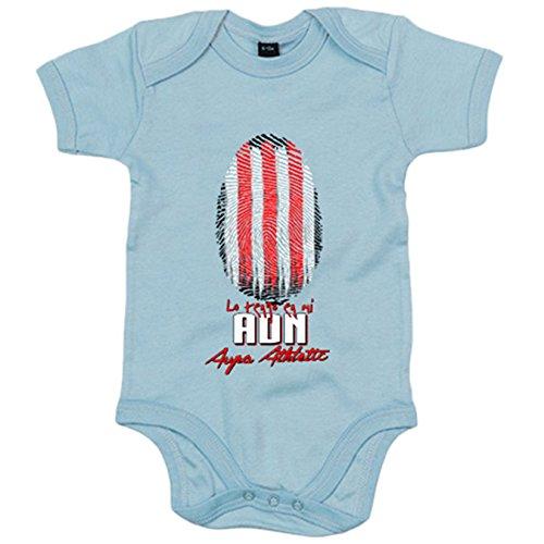 Body bebé lo tengo en mi ADN futbolero de Athletic - Celeste, Talla única 12 meses