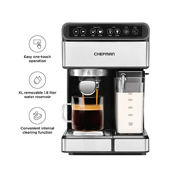 Chefman 6-in-1 Espresso Maker, Powerful 15-Bar Pump, Brew Single or Double Shot, Built-In Milk Froth for Cappuccino… 4 MAKE YOUR KITCHEN A CAFE: Bring the energizing taste of coffeehouse brews into your home with the gourmet Chefman Espresso Maker! With a powerful 15-bar pump and a built-in milk frothing mechanism, you'll be able to brew like a barista every morning. UPGRADE YOUR COFFEE: This 6-in-1 coffee machine creates all of your favorite high-quality coffee beverages right in your kitchen. Enjoy single or double shots of espresso, cappuccinos, lattes, and more with the integrated frothing system. Ditch your old coffee pot, get the upgrade you've been craving. BREW WITH EASE: While your morning cup of joe might be more complex with the Espresso Machine, your brewing process will be easier than ever. With simple one-touch operation, you can brew and froth your perfect cup. Plus, with the XL 1.8 Liter water container, you can forget about daily refills.