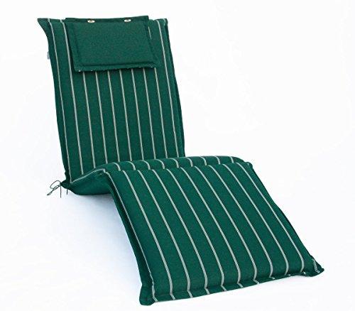 Hambiente Hambiente Auflage Sonnenliege waschbar mit Reißverschluss ca. 198 x 60 cm in grün gestreift VE74