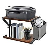Y&ME YM Desktop Printer Stand with Storage Bag, 2 Tier Desktop Organizer Shelf, Rustic Wood Printer Table with Adjustable Anti-Skid Pads, Under Desk Printer Shelf for Fax Machine, Scanner, Files