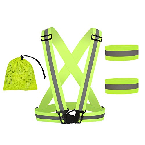 Gativs Chalecos Reflectantes Chaleco de Seguridad Reflectante Ajustable Brazalete Reflectante Chaleco Alta Visibilidad Elastic para Ciclismo Motorista Correr Caminar,Verde
