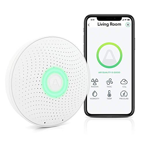 AirThings Wave Plus Smart Radon, CO2 und TVOCs Detektor mit Temperatur-, Feuchtigkeits- und Luftdrucksensoren, batteriebetrieben, mit gratis App