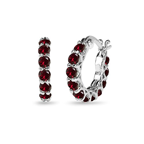 Sterling Silver Synthetic Ruby Small Round Huggie 18mm Hoop Earrings