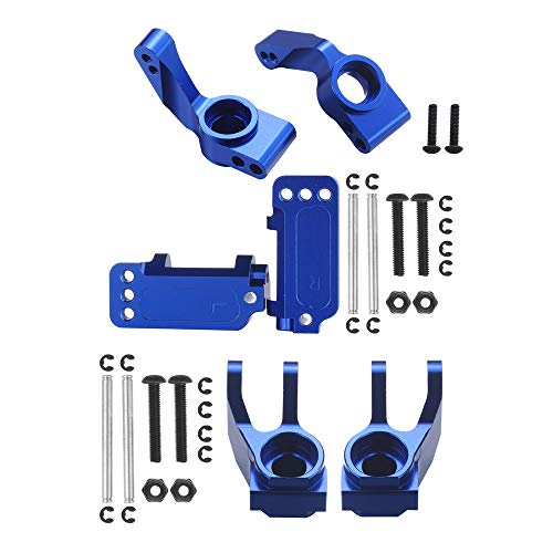 6-Pack Aluminum Caster Blocks, Steering Blocks and Rear Stub Axle Carriers Upgrade for 1/10 Traxxas 2WD Slash Stampede Rustler Replace 3632 3736 3752 Blue-Anodized