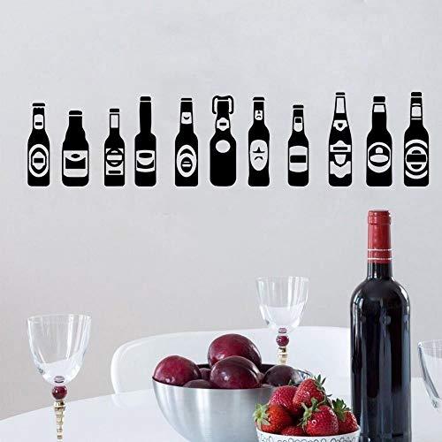 11 piezas Botellas de cerveza Vidrio Alcohol Bebida Bar Pub Cervecería Gabinete de vino Etiqueta de la pared Calcomanía de vinilo Dormitorio Sala de estar Cocina Restaurante Decoración para el ho