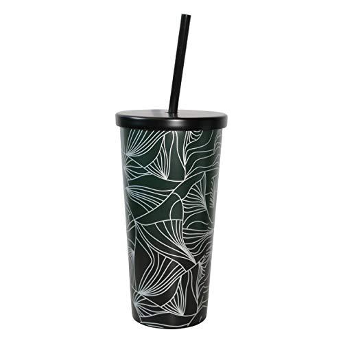 Starbucks Green Jungle Edition - Vaso de acero inoxidable con tapa y pajita, 473 ml, reutilizable